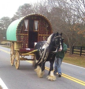 An authentic Gypsy Caravan imported by the Thompsons